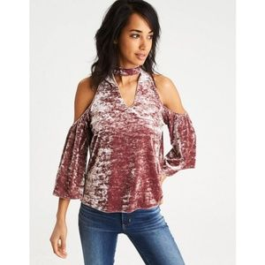 American Eagle Outfitters Velvet Cold Shoulde